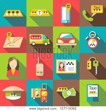 Taxi service icons set. Flat illustration of 16 taxi service vector icons for web