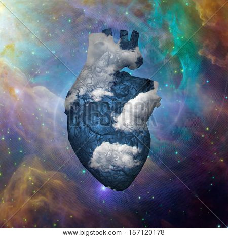 Cloud Heart with Galaxy   3D Render  Some elements provided courtesy of NASA