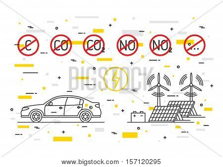 Electric car vector concept with decorative colorful elements. Electrical car with ecological power energy resources illustration. CO2 NO2 symbols with red restriction signs graphic design.