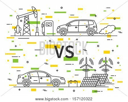 Fuel gas car VS electric car vector concept with decorative colorful elements.