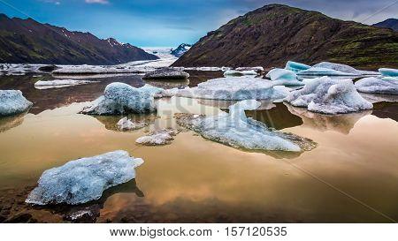 Beautiful Vatnajokull Glacier And Lake In Iceland