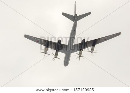 Omsk, Russia - March 19, 2016: Plane Tupolev Tu-95 participant Airshow.