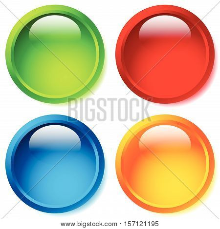 Bright And Glossy Circle Shape, Circle Background In 4 Color