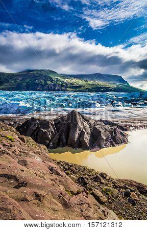 Beautiful Vatnajokull Glacier And Mountains In Iceland