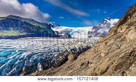 Wonderful Vatnajokull Glacier And Mountains In Iceland