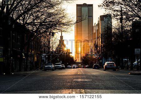 Sunset at rush hour in Deep Ellum Dallas Texas in the fall season