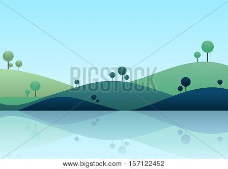 Natue landscape background mountain scenery vector illustration