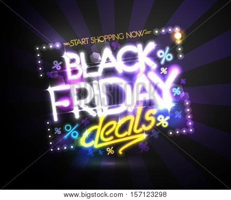 Black friday deals, start shopping now poster design concept, neon lights style