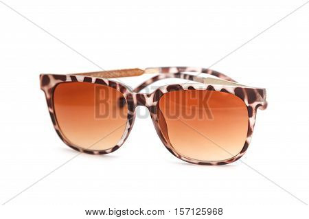 fashion sunglasses side view on white background