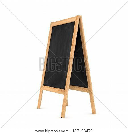 3d rendering of a clean black chalkboard easel in the wooden frame isolated on a white background, three quarters view. Education system. School supplies. Seminars and conferences. Elimination of illiteracy. Professional development.