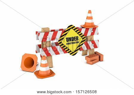 3d rendering of a wooden barrier with the under construction sign and some traffic cones and bricks lying around. Traffic signs. Safety gear and equipment. Construction site. Barriers and warning signs.