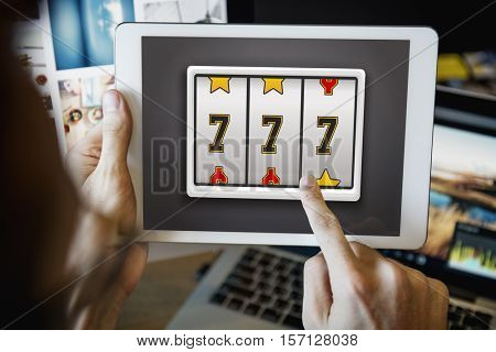 Lotto Slot Machine Jackpot Win Concept
