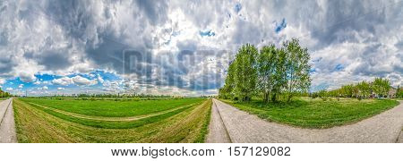 Ultra wide landscape panorama of the river Sava bank in Zagreb
