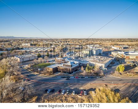 FORT COLLINS, CO, USA - NOVEMBER 12, 2016: Aerial view of New Belgium Brewing Company, craft brewery emphasizing  eco-friendly practices and employee ownership.