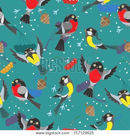 Seamless winter pattern with winter birds on a blue background