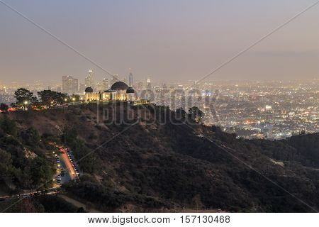 Los Angeles Downtown Nightscape With Griffin Observatory