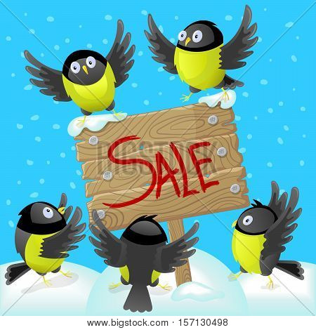 Winter illustration with tomtits and wooden banner concept of holiday sales