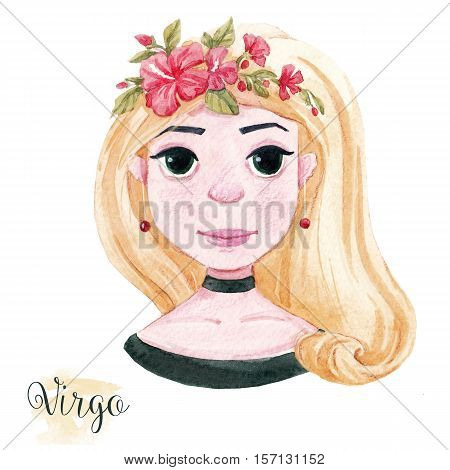 Beautiful watercolor hand drawn girl as a symbol of horoscope sign virgo