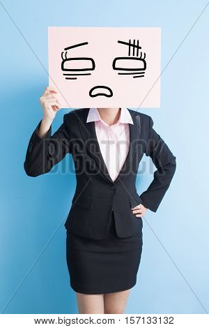 business woman take tired billboard isolated blue background