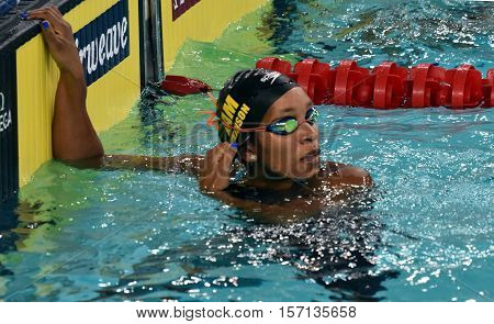 Hong Kong China - Oct 29 2016. Jamaican swimmer and olympian Alia Atkinson at the finish. FINA Swimming World Cup Preliminary Heats Victoria Park Swimming Pool.