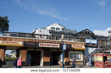 SAN FRANCISCO CALIFORNIA USA - JANUARY 21 2015: Pier 39 is a popular touristic place for shopping