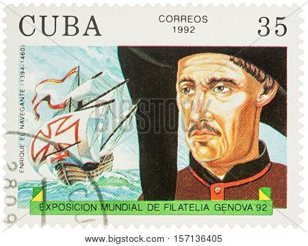MOSCOW RUSSIA - NOVEMBER 16 2016: A stamp printed in Cuba shows Duke of Viseu (Henry the Navigator 1394-1460) - a Portugal navigator series