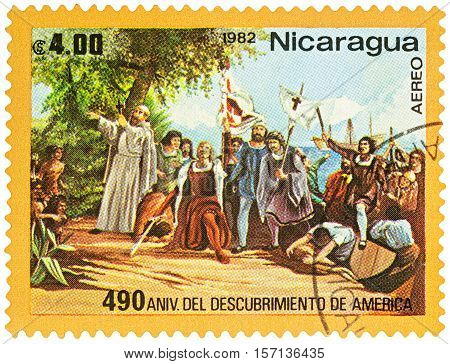 MOSCOW RUSSIA - NOVEMBER 15 2016: A stamp printed in Nicaragua shows Landing of Columbus in West-Indies in 1492 series