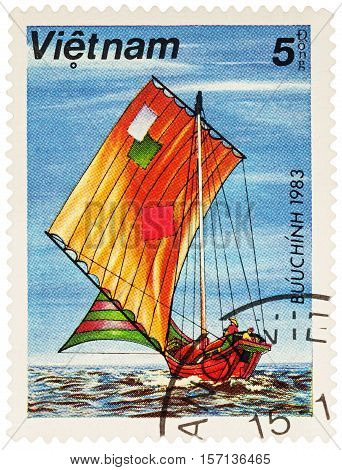 MOSCOW RUSSIA - NOVEMBER 14 2016: A stamp printed in Vietnam shows Asian sailing boat series