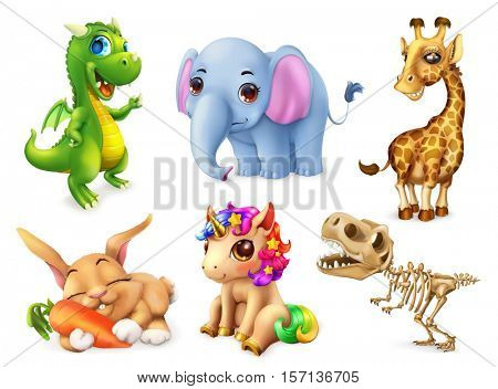 Funny animal set. Happy bunny, rabbit, cute unicorn, small dragon, baby elephant, giraffe, dinosaur. 3d vector icon