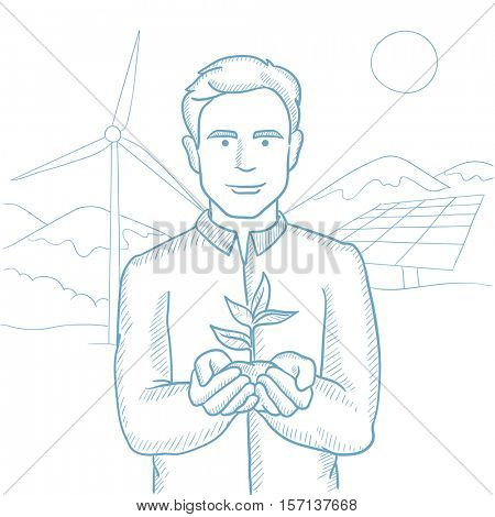 Man holding plant in soil on background of solar power plant and wind power plant. Man with plant on background of solar and wind power plant. Hand drawn vector sketch illustration on white background