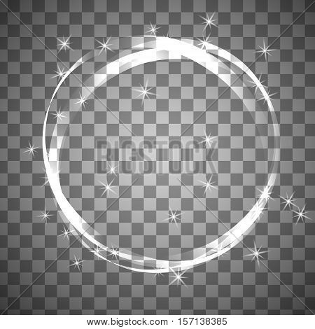 Shiny circle frame on transparent background. Christmas vector clipart. Design forcleaning agent. Mockup with sparcle stars.