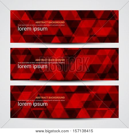 Red Vector Banners Template Or Website Headers With Abstract Geometric Background.