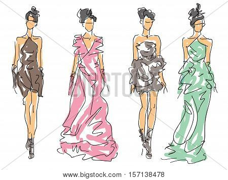 Sketch Fashion Women - models in attractive clothes