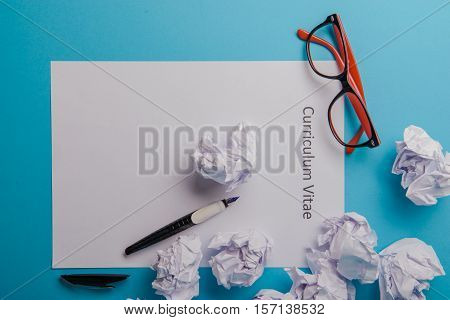 Curriculum Vitae Written On An Blank White Paper