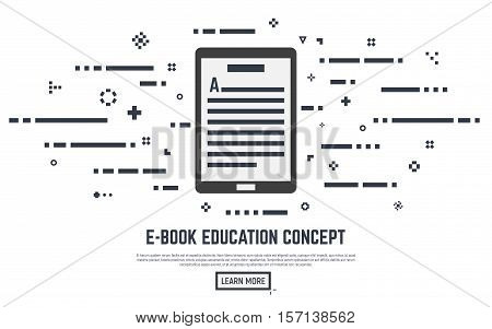 E-book learning poster concept. Electronic book with text lines and abstract dots. Placard or banner. Flat line style vector illustration.
