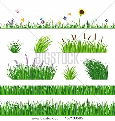 Green seamless grass elemnts. Lawn grass reed and sunflower. Flying butterflies and flowers. Horizontal seamless elements.