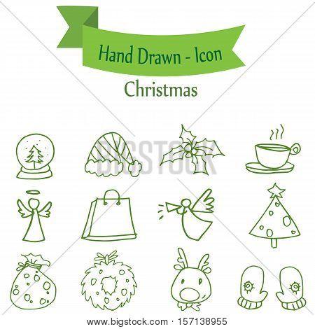 Green Christmas icon set collection stock vector