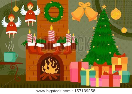 vector illustration of fireplace decorated for Christmas night
