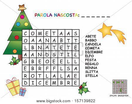 easy crossword in italian for christmas in white background