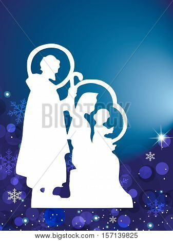 illustration of christmas card with nativity silhouette