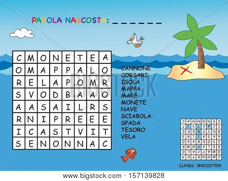easy crossword in italian for children with pirate