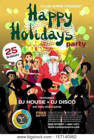 Vector christmas party invitation disco style. Night club, Santa Claus, women, disco ball template  posters or flyers.