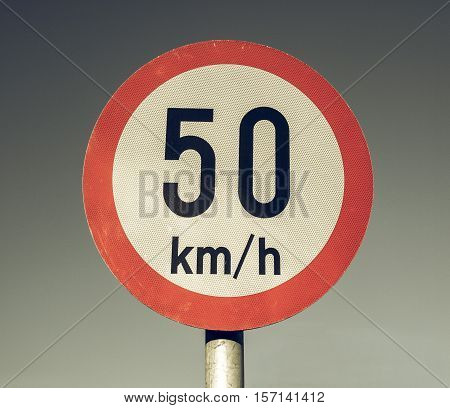 Vintage Looking Speed Limit Sign