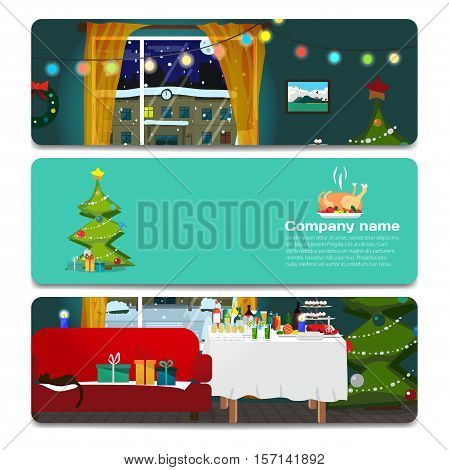Interior room with a sofa and a window decorated for Christmas. Sale discount gift card. Branding design for the gift shop and holiday sales