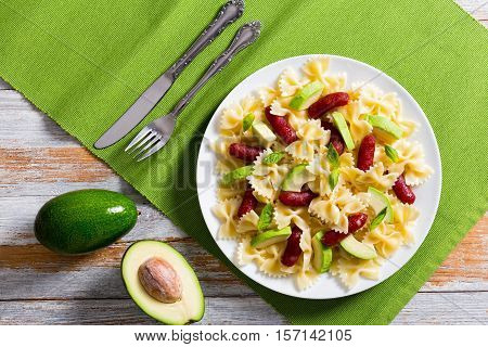 Mini Salami Bowtie Pasta Warm Salad With Avocado Slices