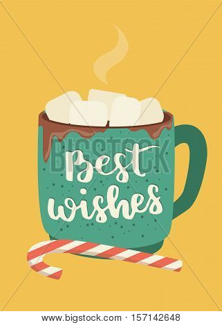 Winter Poster With Hot Cup Of Chocolate And Marshmallows. Christmas Beverage And Candy With Letterin