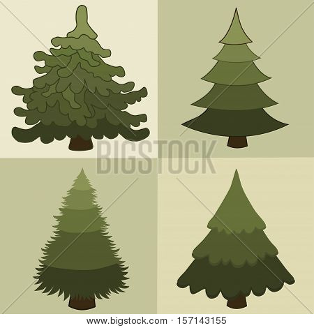 Set of stylized Christmas trees in vector