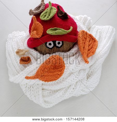 Christmas Snowman From White Scarf, Red Hat And Leaf
