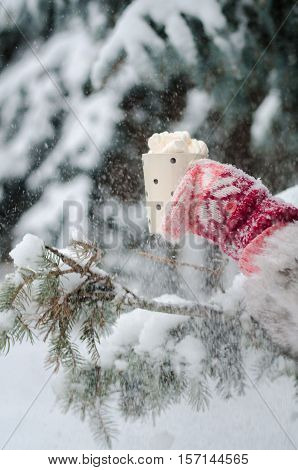 Girl's hands in pink handmade fingerless gloves holding a cup with coffee marshmallow on winter snow background. Winter and Christmas time concept.
