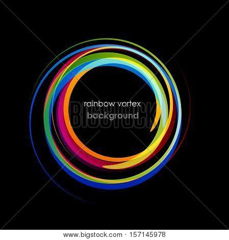 Vector abstract Rainbow Vortex on black Background